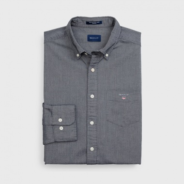 Camisa oxford estampada gris