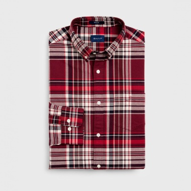 Camisa cuadros oxford granate